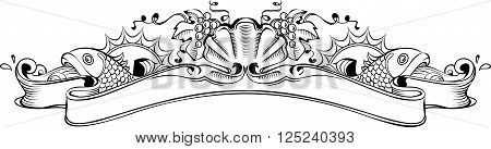 Vector illustration of vintage richly decorated banner on wine and marine theme. Seashell with a pearl in the center of the composition two fishes and grape bunches on both sides of the banner. Perfect as design element for wine cognac champagne label etc