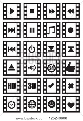 Set of vector icon designs of media and audio related symbols with photographic negative film frame isolated on white background.