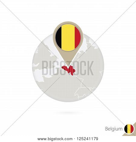 Belgium Map And Flag In Circle. Map Of Belgium, Belgium Flag Pin. Map Of Belgium In The Style Of The