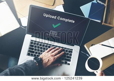 Upload Complete Achievement Digital Internet Concept