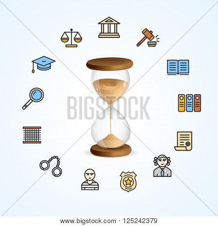 Justice Concept with a Classic Hourglass. Vector illustration