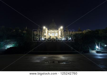 Palau Nacional (National art museum of Catalonia) on hill Montjuic at night in Barcelona
