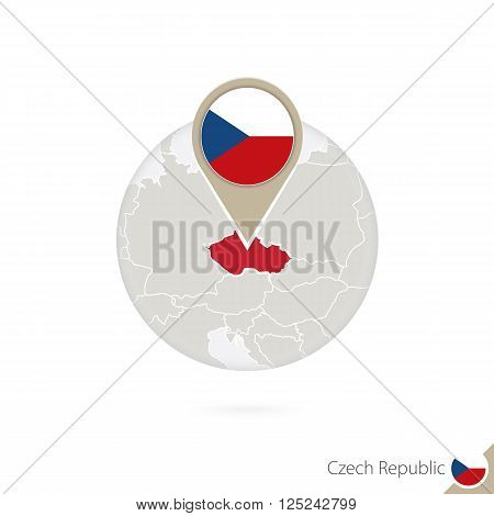 Czech Republic Map And Flag In Circle. Map Of Czech Republic, Czech Republic Flag Pin. Map Of Czech