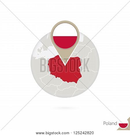 Poland Map And Flag In Circle. Map Of Poland, Poland Flag Pin. Map Of Poland In The Style Of The Glo