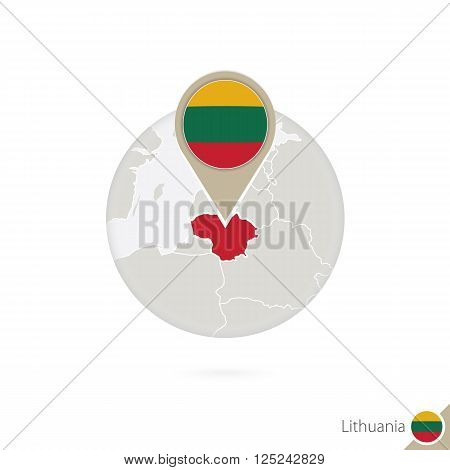 Lithuania Map And Flag In Circle. Map Of Lithuania, Lithuania Flag Pin. Map Of Lithuania In The Styl
