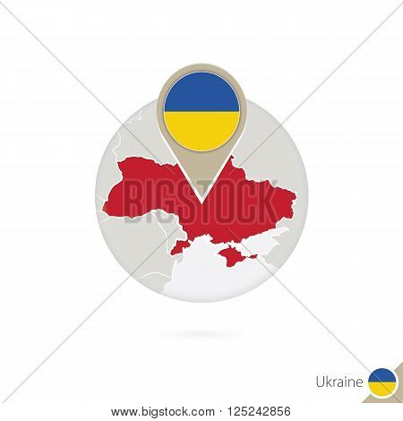 Ukraine Map And Flag In Circle. Map Of Ukraine, Ukraine Flag Pin. Map Of Ukraine In The Style Of The