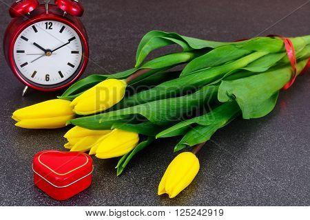 Set of Beautiful Yellow tulips on Dark Background