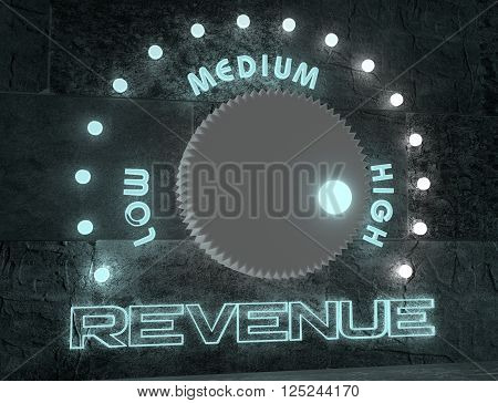 balance adjust between low and high revenue. regulator with neon shine scale. 3D rendering