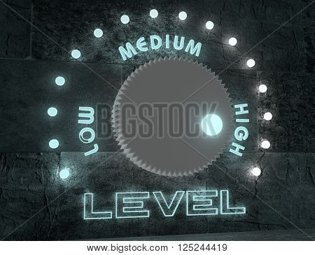level adjust between low and high revenue. regulator with neon shine scale. 3D rendering