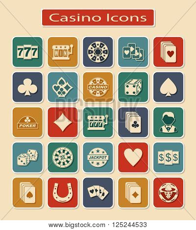 Set of Casino Icons. Symbols of Gamblings on a Light Background.