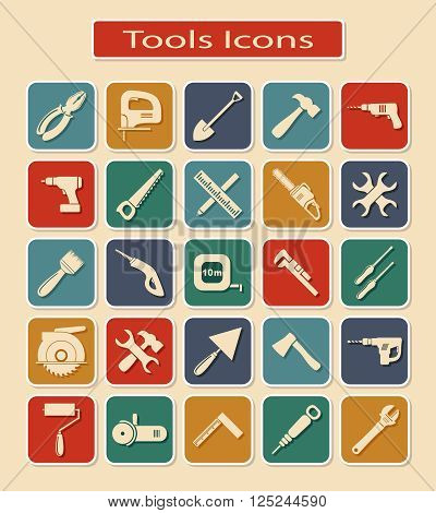 Symbols of Different Tools and Devices on a Light Background.