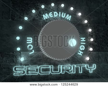 balance adjust between low and high security. regulator with neon shine scale. 3D rendering