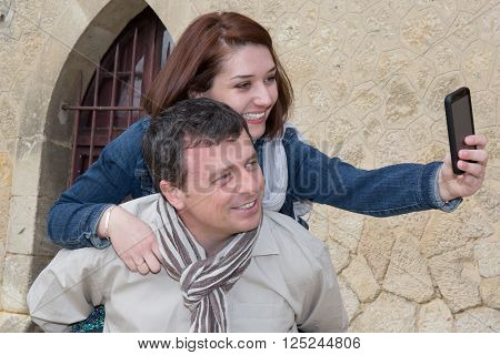 Happy Couple, Attractive Woman Enjoying Romance. Lovers Making Selfie,