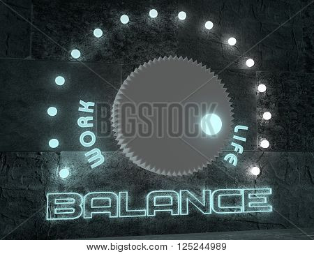 balance adjust between work and life. regulator with neon shine scale. 3D rendering