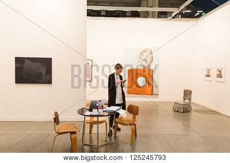Exhibitor At Miart 2016 In Milan, Italy
