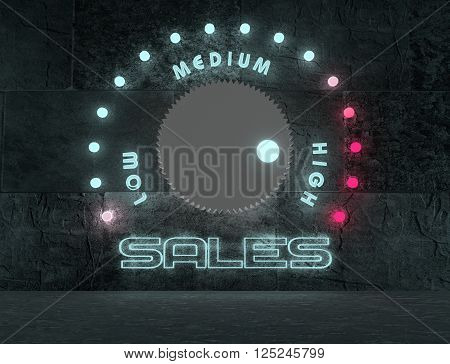 balance adjust between low and high sale. regulator with neon shine scale. 3D rendering