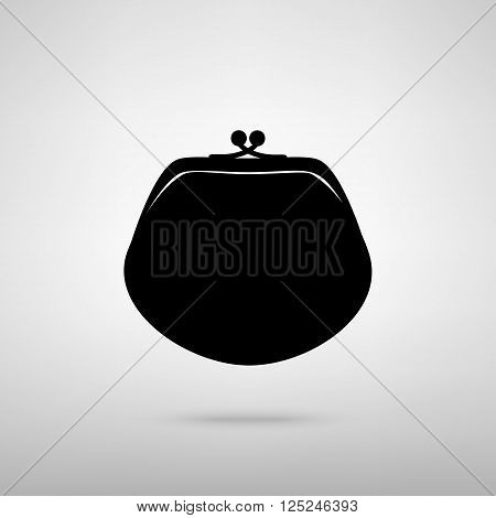 Purse sign. Black with shadow on gray.