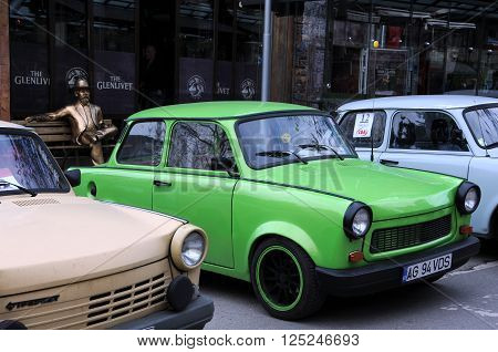 VELIKO TARNOVOm BULGARIA - MARCH 19m 2016: East German Trabant cars in the street of the city during Trabant Fest event