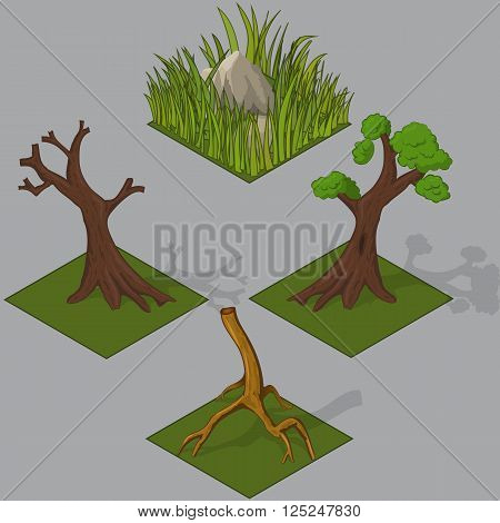 Naked tree , rock in a grass isometric