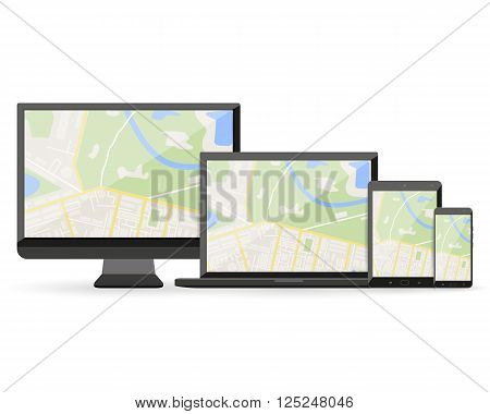GPS Abstract generic city map with roads, buildings, parks, river on display of modern digital devices, desktop pc, teblet pc, smartphone, laptop. vector illustration in flat design on white background