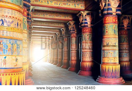 MOROCCO, OUARZAZATE - 11 MAU 2015. Atlas Film Studios. Scenery of ancient Egyptian temple.