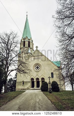 Roman catholic church of saint Stephen king Nove Sady village Slovak republic. Religious architecture. Vertical composition.