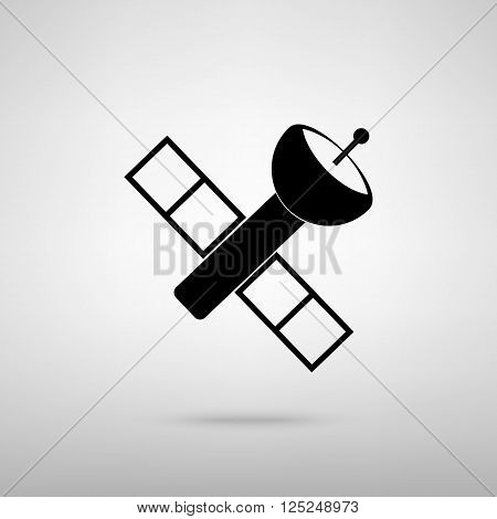 Satellite sign. Black with shadow on gray.