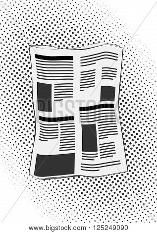 newspapers in retro comic style on halftone background