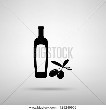 Black olives branch with olive oil bottle sign. Black with shadow on gray.