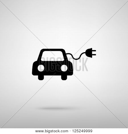 Eco electric car sign. Black with shadow on gray.