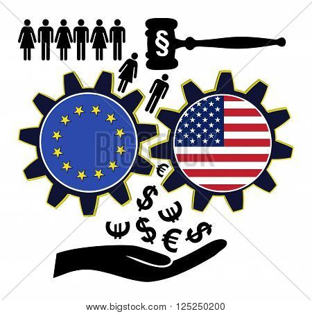 Fears over TTIP. People fear to get exploited by the Transatlantic Trade and Investment Partnership between the EU and USA