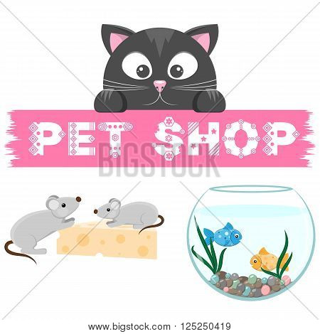 Pet shop emblem. Banner with name of animal store. Cat, mouse and fish on the picture