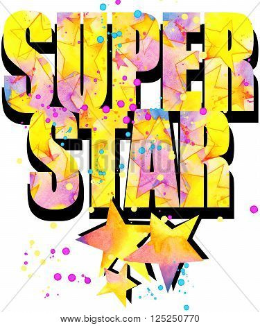 Super Star T-shirt print graphics. Watercolor star background. Star print. Star.