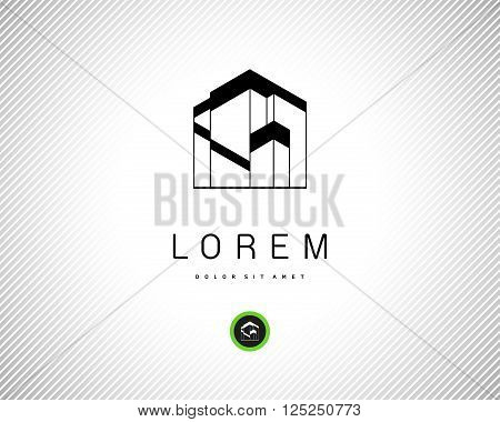House Abstract Real Estate Residential Logo for Company. Modern Building Black Silhouette on White Background. Abstract Logo Design Template.