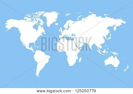 Worldmap vector template. World map for infographic. White blank world map. Silhouette world map. Stock vector world map.