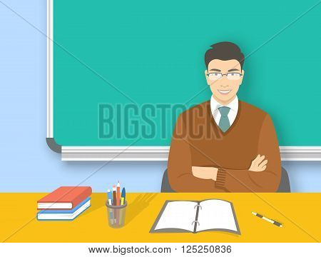 School teacher at desk flat education vector background. Young smiling asian man teacher with glasses sitting at table with books and pens in front of blackboard. Adult people cartoon character