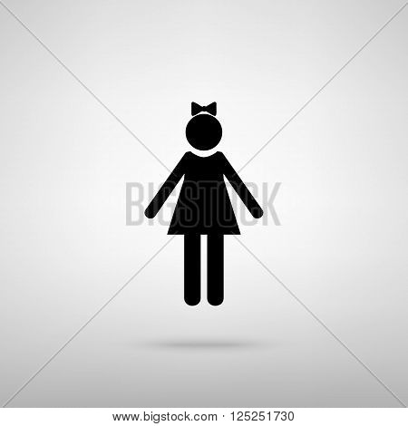 Girl sign. Black with shadow on gray.
