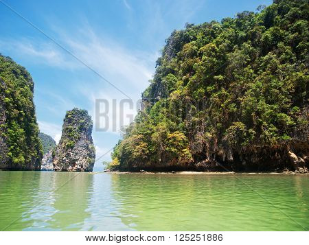 Khao Phing Kan is a pair of islands on the west coast of Thailand in the Phang Nga Bay Andaman Sea near Phuket. Shot on a bright sunny day.