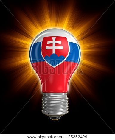 Light bulb with Slovak flag.  Image with clipping path