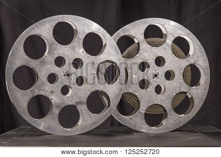 Movie old reel on a black background