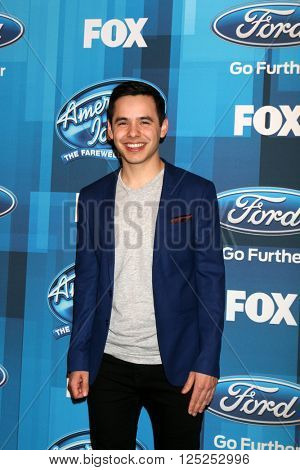 LOS ANGELES - APR 7:  David Archuleta at the American Idol FINALE Arrivals at the Dolby Theater on April 7, 2016 in Los Angeles, CA