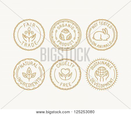 Vector Set Of Badges And Labels In Trendy Linear Style