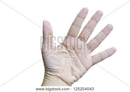 isolated wrinkle young women fingers.The outermost layer of the skin swells when it absorbs water. It is tightly attached to the skin underneath, so it compensates for the increased area by wrinkling.