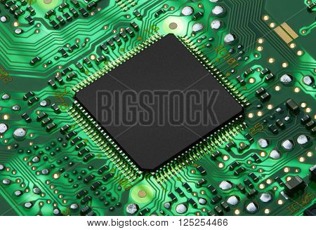 Electronic circuit board with processor, close up.