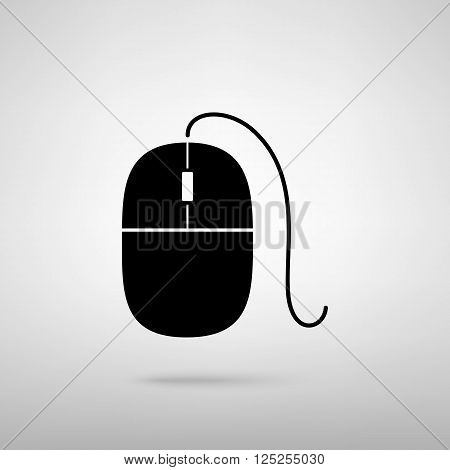 Mouse sign. Black with shadow on gray.
