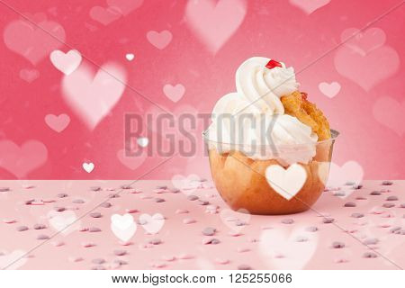 Delicious pretty party cakes with heart shape symbols on colorful background