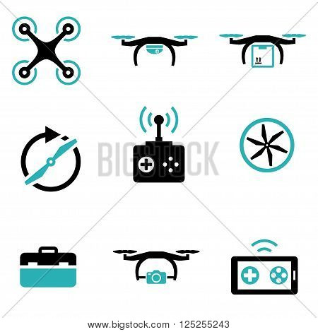 Vector black drone icon set on white background