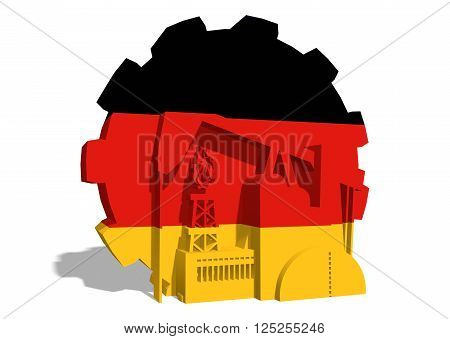 3D gear with oil pump gas rig and factory simple icons textured by Germany flag. Heavy and mining industry concept. 3D rendering