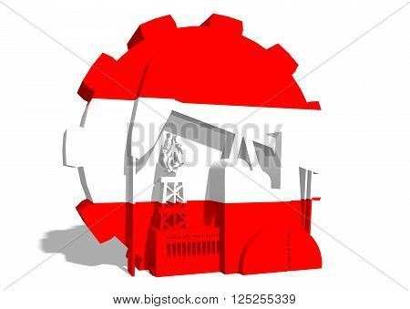 3D gear with oil pump gas rig and factory simple icons textured by Austria flag. Heavy and mining industry concept. 3D rendering