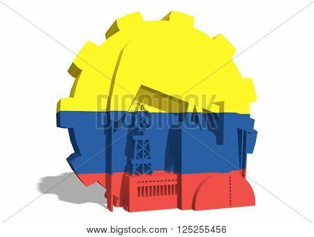 3D gear with oil pump gas rig and factory simple icons textured by Colombia flag. Heavy and mining industry concept. 3D rendering
